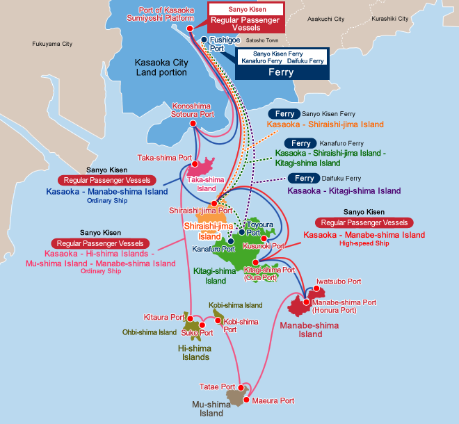 Access to Kasaoka Islands: Sailing Route Map