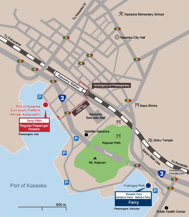 Access to Kasaoka Islands: Boarding Docks in Kasaoka Port Vicinity