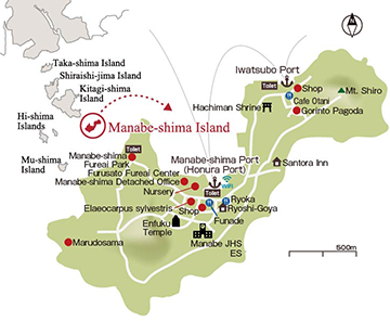 Map of Places to See on Manabe-shima Island