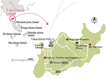 Map of Places to See on Taka-shima Island