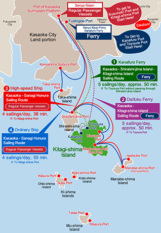 Map of Sailing Routes to Kitagi-shima Island