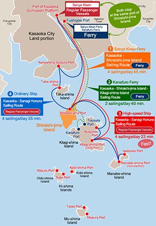 Map of Sailing Routes to Shiraishi-jima Island