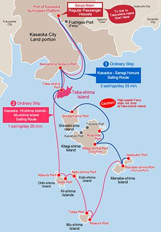 Sailing Routes to Taka-shima Island